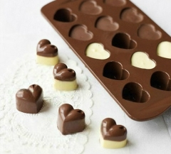 Heart Shaped Birthday Party Silicone Non Stick Cake Chocolate Mould Baking Tray brown