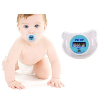 Newborn Baby Mouth Nipple Pacifier Soother LCD Digital Temperature Thermometer white one size