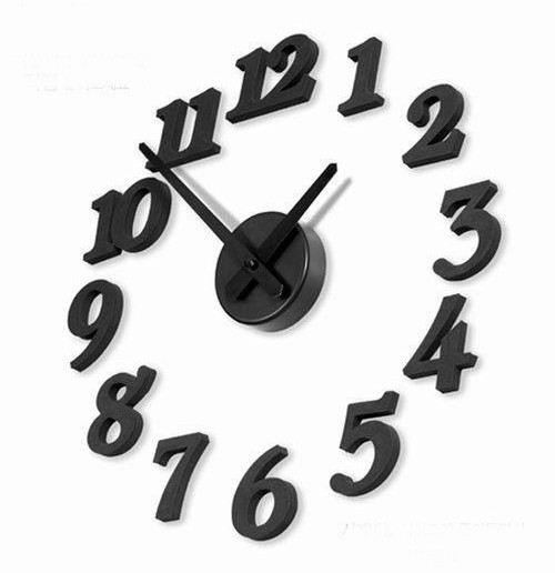 "Stylish ""Black Numbers"" DIY Self Adhesive figures Wall Large Clock black one size"