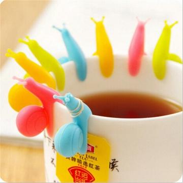 5 PCS Cute Snail Shape Silicone Tea Bags Holder Cup Mug Candy Random Colors Gift