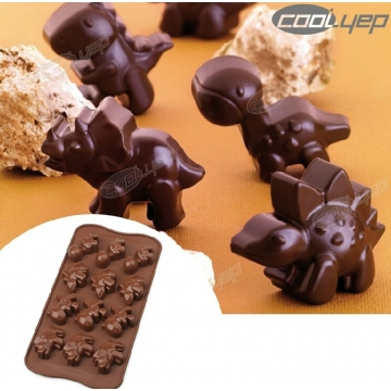 Silicone Dinosaur Chocolate Muffin Cup Cake Candy Ice Tray Mold Maker Party Bar brown