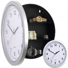 Wall Clock with Hidden Safe Hides Valuables Jewelry grey one size