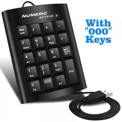 Black Office Computer USB 19 keys Numeric Number Keypad Keyboard For Laptop black one size