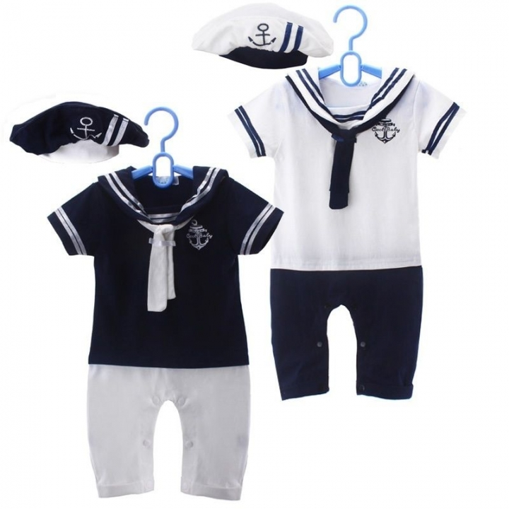Cute Navy Baby Short Sleeved Jumpsuit with Hat 6-24 Months blue 12-18 months