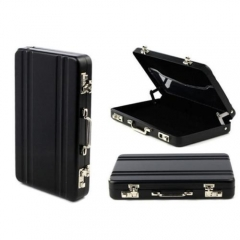 Fashion Mini Aluminum Safe Suitcase Briefcase Business Card Holder Box Case black one size