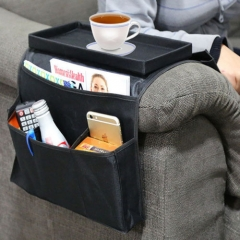 Home Black Arm Rest Storage Organizer House Bag for Sofa Chair or Couch Side black