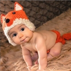 Cute Orange Fox Baby Photography 0-3 Months Prop Knit Crochet Beanie Set orange 0-3months