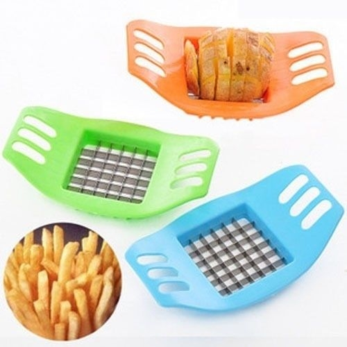 Stainless Steel French Fry Cutter Potato Vegetable Chip Slicer Kitchen Tool black one size