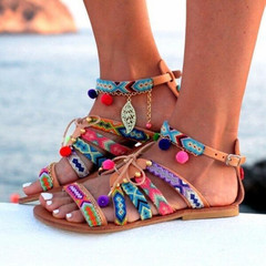 Women Sandals Flat Heel Bohemia Style Rome Gladiator Lace Up Bead Decorations Ladies shoes one color 39