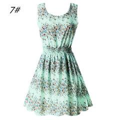 Women's Europe and America women dress sleeveless stitching print dress retro big swing skirt s 7