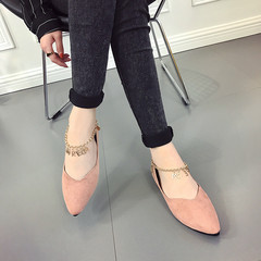 Women new point flat shoes casual shoes flat soft leather shoes Female Shoes pink 39
