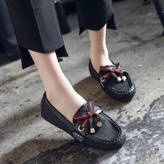 2018 Fashion Shoes women lady soft sole Leather Platform Leasure bow-knot loafers similar to GUCCI black 37