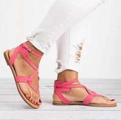 Women Sandals Gladiator Sandals For Women Summer Shoes Female Beach Flat Sandals Shoes Women Rome Pink 39