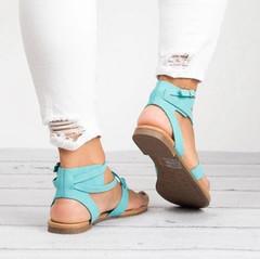 Women Sandals Gladiator Sandals For Women Summer Shoes Female Beach Flat Sandals Shoes Women Rome Blue 36