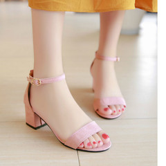 Summer Women Sandals Open Toe shoes Women's Sandles Square heel Women Shoes Korean Style Gladiator pink 35