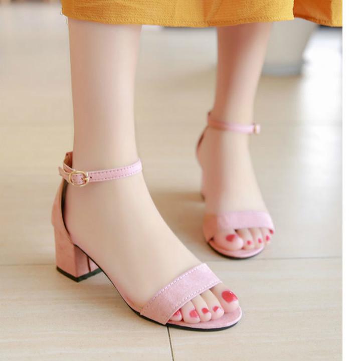 Summer Women Sandals Open Toe shoes Women's Sandles Square heel Women Shoes Korean Style Gladiator pink 35