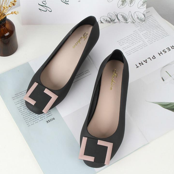 2018 Summer Sandals Women Casual Bowtie Shoes Fashion Jelly Shoes Transparent PVC Flat Shoes black 36