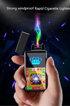 Game USB charging lighter men's gift entertainment cigarette lighter Black brushed