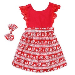 Children Clothes Lace Stitching One Piece Dress with Flying Sleeves for Girls red 110CM