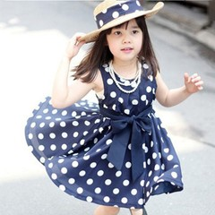 Child Girl Dress Summer Cool Sweet Bow Dots Costume Sleeveless Chiffon Dress dark blue 140CM