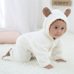 Infant Baby Cartoon Cute Animal Shaped Romper Unisex Long-sleeved Jumpsuit white 0-3M