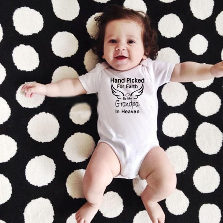 Baby Short Sleeve Romper Angel Wings & Letter Printed Bodysuit Pullover white L