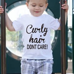 Baby Boys Girls T-shirt Solid Curly Hair Don't Care Printed Short Sleeve Tops white S