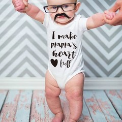 Summer Baby Unisex Short Sleeves Heart Letters Printing Triangle Romper as picture L