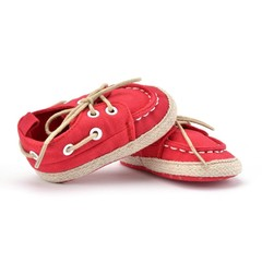Baby Canvas Shoes Lace-up Closure Soft Sole Prewalker Leisure Toddler Shoes #1 11cm
