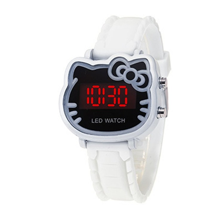 Lovely Cartoon Cat Shape LED Electronic Watch Alloy Silicone Girls Wrist Watch