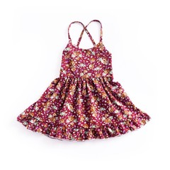 Summer Kids Girls Outfits Halter Dress Floral Print Backless Bandage Dress