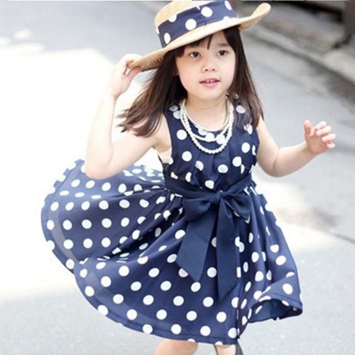 Child Girl Dress Summer Cool Sweet Bow Dots Costume Sleeveless Chiffon Dress dark blue 140CM