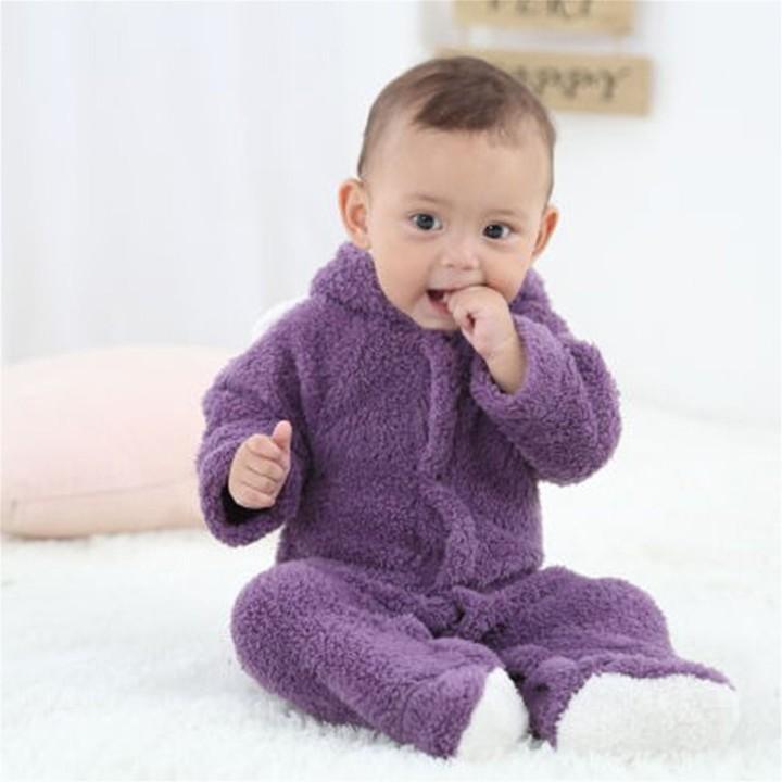 Infant Baby Cartoon Cute Animal Shaped Romper Unisex Long-sleeved Jumpsuit purple 9-12M