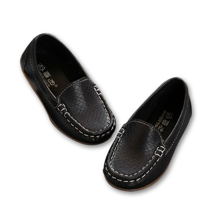 Girls Boys Children Shoes Casual Leather Shoes Lightweight Flat Peas Shoes black 23