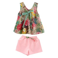 Summer Kids Girls Outfits Sleeveless Fashion Floral Print Dress With Shorts