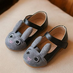 Spring Autumn Baby Girls Rabbit Printing Shoes Magic Sticker Low-cut Shoes black 22