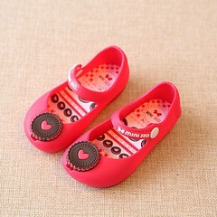 Children Cute and Sweet Shoes Buckle Strap Closure Round Toe Rubber Sole
