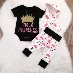 Newborn Infant Baby 3 Pcs Short Sleeves T-shirt + Trousers + Bowknot Headwear