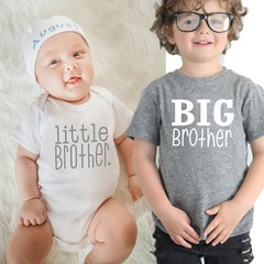 Baby Boys Girls T-shirt Solid Big Brother Printed Short Sleeve Pullover Tops