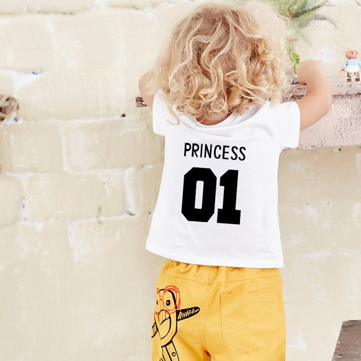 Summer Baby Unisex Short Sleeves Letters Printing Round Collar T-shirt white XL