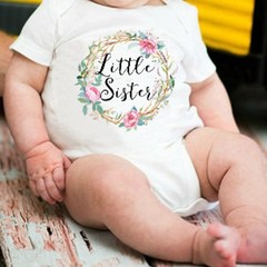 Summer Baby Girls Short Sleeves Letters Flower Printing Round Collar T-shirt as picture L