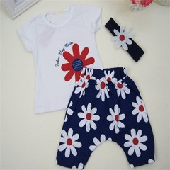 Newborn Unisex Clothing Set Short-sleeved T-shirt+Shorts with Floral Print