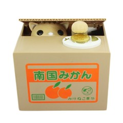 Piggy Bank Cat Steal Money Coin Saving Box Pot Case Battery Operated Gift