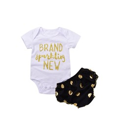 Baby Jumpsuit Rompers with Letter Print & Open Crotch + Elastic Shorts Unisex