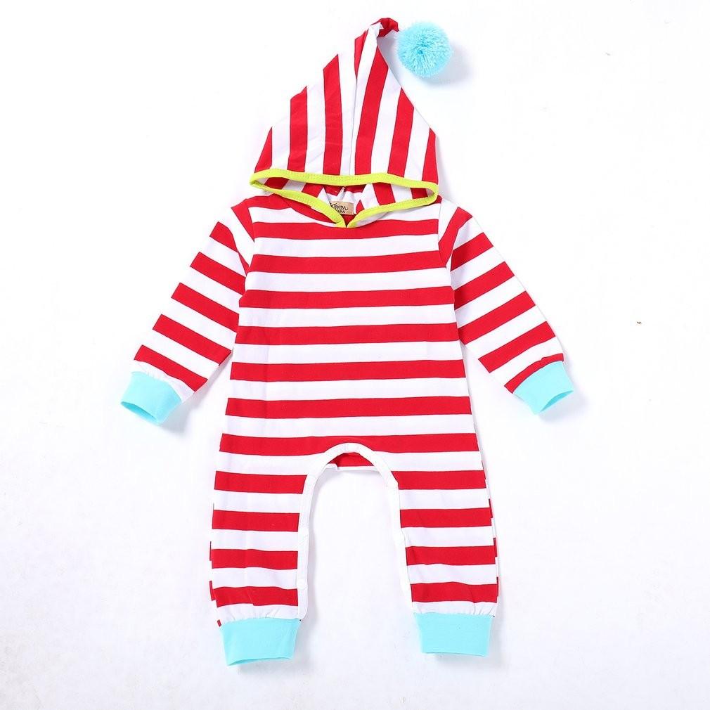 e394f4e23 Long Sleeves Newborn Unisex Hooded Baby Romper Fashion Striped ...