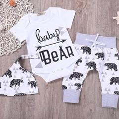 Unisex Baby 3 Pcs Clothing Set with Unique Letters & Little Bear Pattern Print