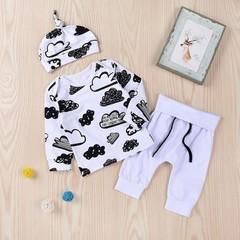 Unisex Baby Clothing Set Cloud Graffiti Print T-shirt & Hat + Long Trousers