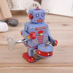 Vintage Metal Tin Drumming Robot Clockwork Wind Up Tin Toy Collectible