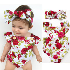 Cute Floral Romper 2pcs Baby Girls Clothes Jumpsuit Romper Headband Toddler Newborn Outfits Set as the picture 70cm