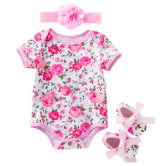 Cute Romper 3pcs Baby Girls Clothes Jumpsuit Romper Headband with shoes Toddler Newborn Outfits Set as the picture 59(0-3 month)